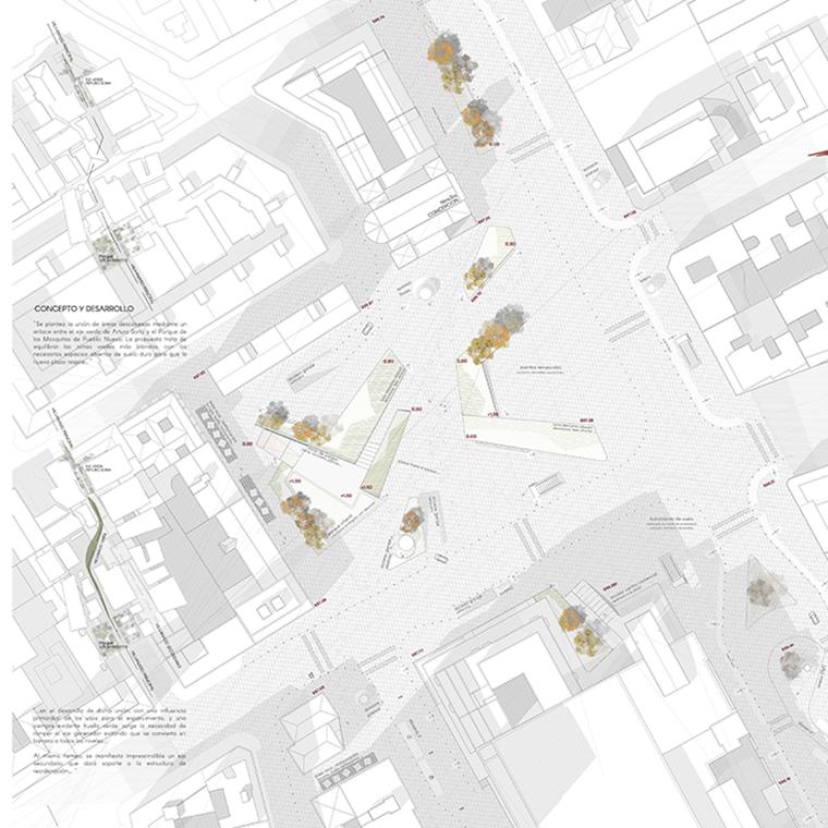 Reordenación de un Programa complejo de movilidad urbana y nuevos equipamientos, concediendo el protagonismo a la actividad de barrio en el espacio público